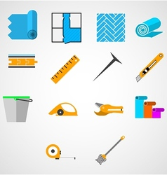 Colored flat icons for working with linoleum vector image vector image