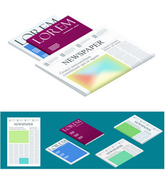 isometric blank newspaper and magazines business vector image vector image