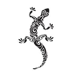 lizard reptile tattoo decorated geometric ornament vector image