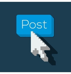 Post button with arrow shaped cursor vector