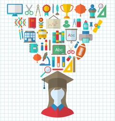 Set of Education Flat Colorful Icons vector image vector image