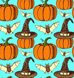 Sketch halloween seamless pattern vector