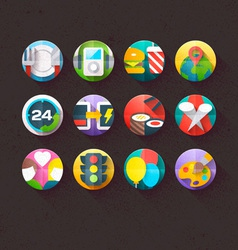 Textured Flat Icons for mobile and web Set 5 vector image vector image