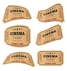 cinema ticket movie set vector image vector image