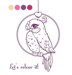 Cute girl bird contour vector image vector image