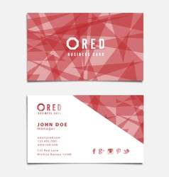 Red Themed Business Card Template vector image vector image