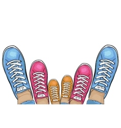 Summer trendy sports shoes Family-run collection vector image