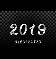 2019 white new year sign with glitter and loading vector image