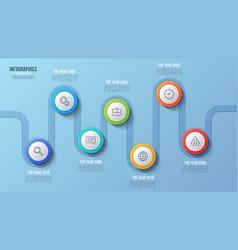 7 steps timeline chart infographic design vector image