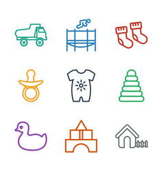 9 child icons vector