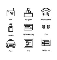 9 hotel line icons vector image