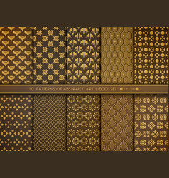 abstract floral style antique golden art deco vector image