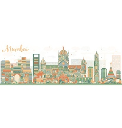 Abstract Mumbai Skyline with Color Landmarks vector