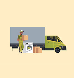African american courier near delivery truck vector