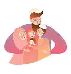 Arabic muslim family man woman with baby boys vector