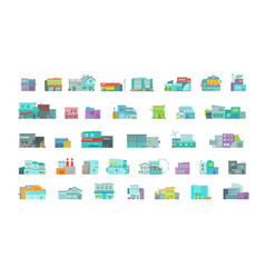Architecture town buildings big set city street vector