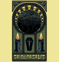 art nouveau halloween card skulls candles coffin vector image