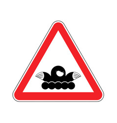 Attention mole warning shrew red prohibitory sign vector