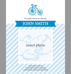 Baboy announcement card template with bicycle vector