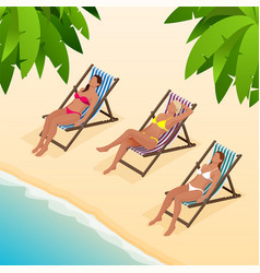 beautiful young slim woman sunbathe on the beach vector image vector image