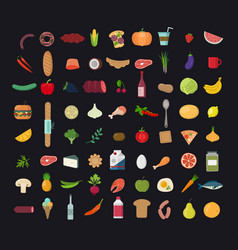 big set colored food icons vector image