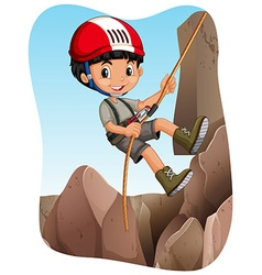 Boy climbing up the mountain vector