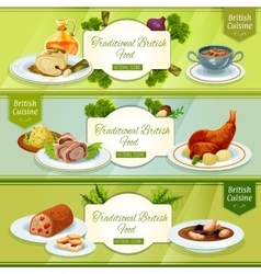 British cuisine banner for restaurant menu design vector