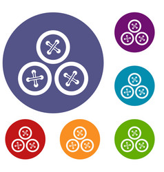 Buttons for sewing icons set vector