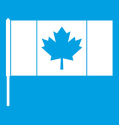 Canada flag with flagpole icon white vector