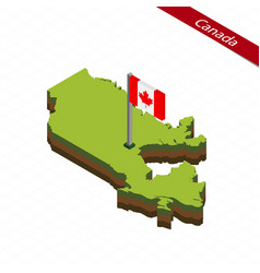Canada isometric map and flag vector
