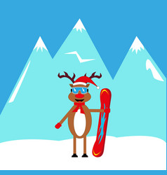 cartoon deer snowboarder in the mountains vector image