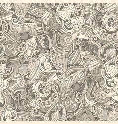 Cartoon doodles russian food seamless pattern vector
