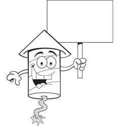 Cartoon firecracker holding a sign vector