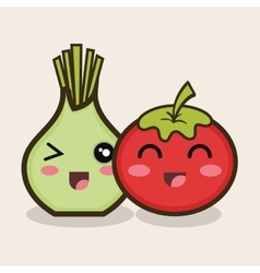 cartoon onion tomato vegetable design vector image