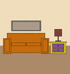 cartoon sofa and draws and lamp vector image