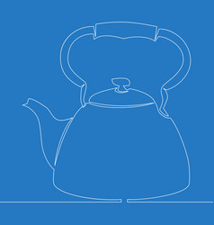 continuous one line drawing kettle icon concept vector image