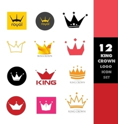 Crown logo icon set vector image