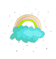 cute cartoon rainbow on blue cloud icon colored vector image
