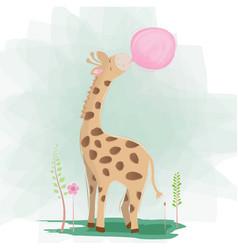 Cute giraffe with a bubble gum vector
