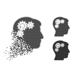 Dissolved dotted halftone mind gear rotation icon vector