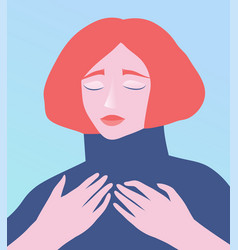 Dreaming redhead lady with eyes closed romantic vector