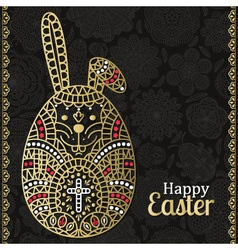 Easter pattern with white Easter rabbit vector