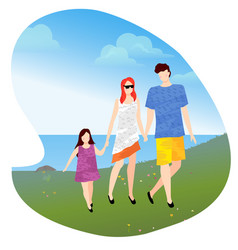 family with child walking near lake or pond vector image