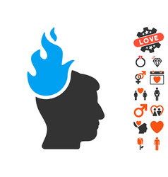 fired head icon with dating bonus vector image