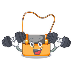 Fitness messenger bag on a isolated mascot vector
