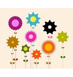 Flat Design Retro Flowers vector image