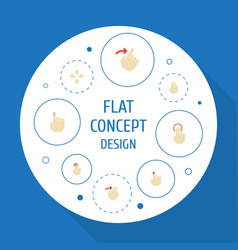 Flat icons sensory slide single tap and other vector