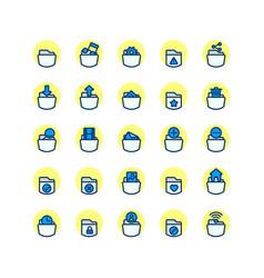 Folder filled outline icon set vector