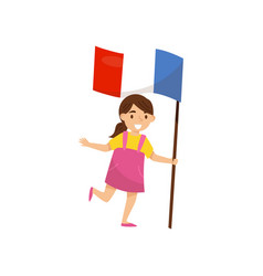 girl holding national flag of france design vector image