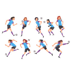 Girls playing soccer collection young women vector